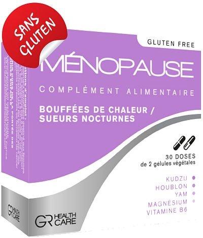 MENOPAUSE 60 gélules - Complément alimentaire - Bouffées de chaleur - Sueur nocturne - Troubles du sommeil - Irritabilité - Cure de 3 mois - Made in France
