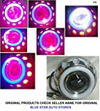 PR Projector Lamp (Red and Blue) High Beam, Low Beam, Flasher Light, White Light Led headlight Lens projector with Angle eye For Hero HF Deluxe Alloy Self Start 1 Pcs