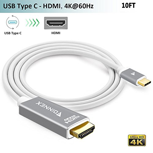 Câble USB-C vers HDMI,(3M,4K@60Hz),FOINNEX Cordon adaptateur USB Type-C(Thunderbolt 3)pour MacBook Pro 2017/2016,iMac,Surface Book 2,Galaxy S8/S8+/Note8,Chromebook Pixel,Dell XPS 13/15 à TV/moniteur