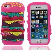 Apple iPhone 5 5S Funda iPhone SE iPhone 5C Carcasa Silicona 3D Original Bonita Hamburguesa Apariencia Bonita Color Suave Case AntiGolpes