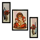 #9: 3 PC SET OF LORD GANESHA PAINTINGS (1060) WITHOUT GLASS 5.2 X 12.5, 9.5 X 12.5, 5.2 X 12.5 INCH