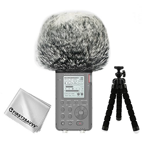 FIRST2SAVVV Negro Micrófono Externo Peludo Parabrisas Manguito para Grabadores Digitales para Tascam DR-100 MKIII DR100 MK3 + Paño de Limpieza + Mini trípode TM-DM-DR100MKIII-A01TZ3