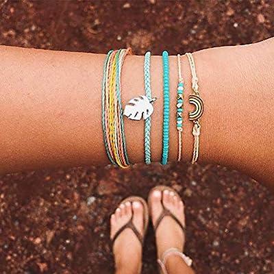 Simsly Lot de 5 bracelets Boho Turquoise Plume Accessoires Bracelet Réglable pour Femmes et Filles