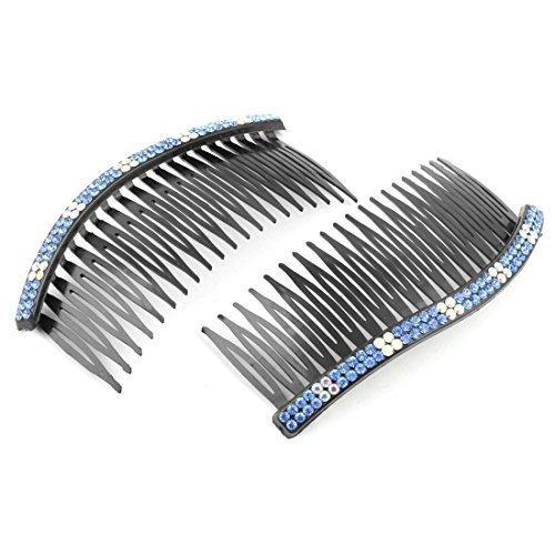 Deal Mux plastique Madame Décor strass 20 dents Barrette à cheveux comb 10,7 x 4,7 cm 2 pièces Noir