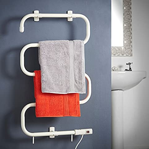 VonHaus Electric Towel Rail / Warmer / Radiator | White | Wall Mount & Stand Included