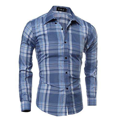 Honghu Regular Fit Básica de Manga Larga Cuello Clásico de la Camisa Formal para Hombre Tamaño M Azul claro