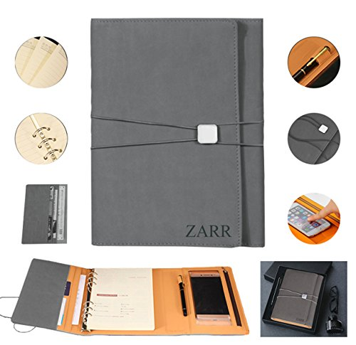 Portfolio Binder Organizer, ZARR 6-in-1 Deluxe PU Leather Business Padfolio-Document Organizer+Card Holder+Refillable A5 Writing Notepad+Pen&Holder+Zippered Phone Case with Clear Protector+Gift Box (Grey)
