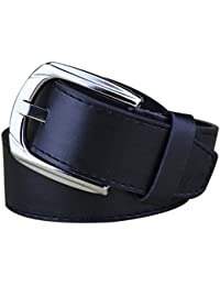 PU Leather Belt - SODIAL(R)Simple Men Women Casual Waistband PU Leather Belt Smooth Buckle Belt, Black