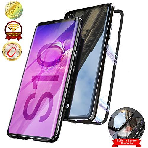 Elewelt Magnetische Hülle für Samsung Galaxy S10, Doppelseitige Durchsichtige Hartglasabdeckung Magnetic Handyhülle, [Metall Bumper] Dünn Panzerglas Back Case für Samsung S10 6.1 Zoll [Schwarz]