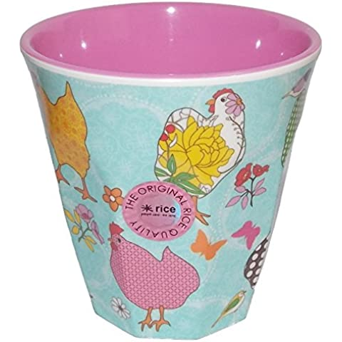 Melamine Cup Two Tone Hen Print