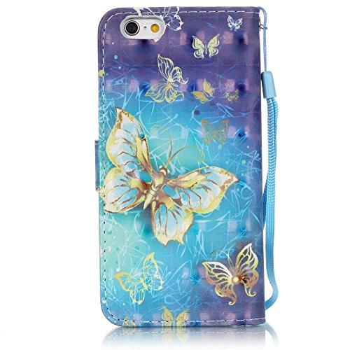 Coque iPhone 6S Plus,Coque iPhone 6 Plus,ikasus® Coque iPhone 6S Plus / 6 Plus Bookstyle Étui Housse en Cuir Case,Modèle de Peinture colorée peint fleurs papillon printemps série Etui Housse Cuir PU P Papillon jaune bleu