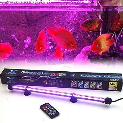BGGSZD Haute Qualité 25-55cm Télécommande Coloré LED Aquarium Lumière Fish Tank Corail Lampe 5050 RVB Submersible Lumières Couleur Changement Lumières