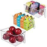 mDesign Kitchen Pantry Cabinet or Refrigerator Storage Organizer Bin Box with Built-in Handle - Organizers for Cans, Bottles, Packets, Snacks, Produce, Pasta - BPA Free, Food Safe, Set of 3, Clear