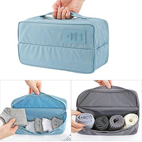 Xiaoqingmiao cubos de embalaje organizadores de viaje impermeable multifuncional bolsa de viaje ropa interior sujetador portátil bolsa de almacenamiento azul azul