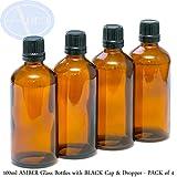 4er-PACKUNG - 100ml BRAUNGLAS-Flaschen mit Schwarzen Sicherheitsverschlusskappen & Dosier-Tropfern. Ätherisches Öl / Verwendung in Aromatherapie