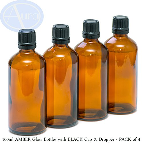 PACK of 4 - 100ml AMBER GLASS Bottles with Black Tamper Evident Caps &
