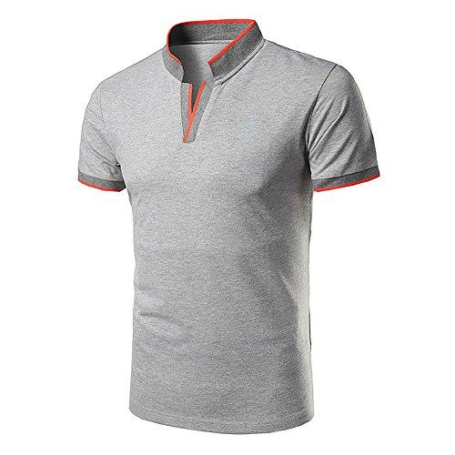Herren Poloshirts Stehkragen Polo Shirt Kurzarm Einfarbig Sommer Slim Fit T-Shirt (Medium, Grau 1)