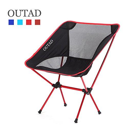 OUTAD Comfortable Camping Chair Outdoor Folding Chair Klappstuhl Strandstuhl Freizeitstuhl für Angeln, Picknick und Camping im Freien robustes 600D Oxford Gewebe Maximale Lager 150kg (Rot)
