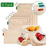 Meiruier 9pcs Bolsa Reutilizable Algodon de Vegetales,Bolsa de Malla Lavable,Bolsas Reutilizables Compra, Bolsas de Malla Transpirables Adecuado para Frutas y Verduras Productos Frescos