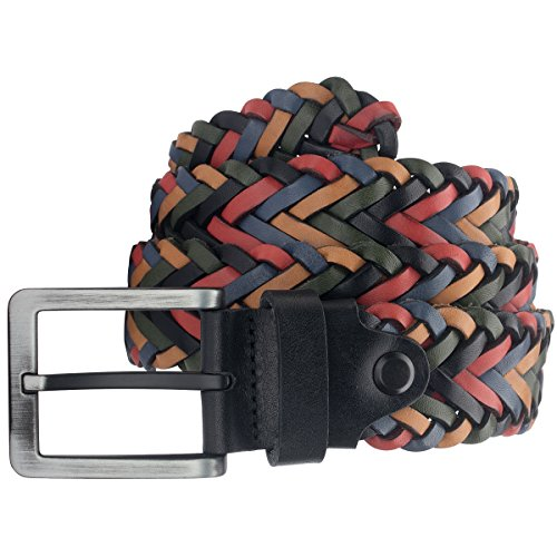 Lindenmann Mens leather belt/Mens belt, braided leather belt multicolor