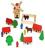 19 tlg. Set: buntes Dorf mit Windmühle, Häuser & Bäume, Figuren und Bausteine - aus Holz -...