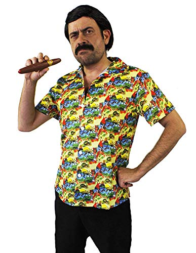 ILOVEFANCYDRESS Pablo Escobar KOSTÜM - GELBES Hawaiianer Hemd + PERÜCKE + Schnurrbart + ZIGARRE - PERFEKT FÜR Fernseher Filme Droge Lord KOSTÜME - GRÖẞE: GROẞ