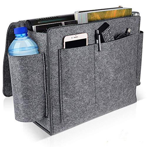 Clevoers Bett Organizer, Filz Betttasche Anti-Rutsch Nachttisch Tasche Sofa-Bett Hängeaufbewahrung für Telefon iPad Fernbedienung Magzine
