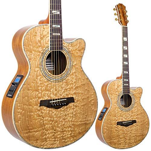 Lindo LDG-B02CNL Master of Tone Series Piebald Akustikgitarre mit Eschendecke, Abalone-Inlay und D Addario EXP Saiten, inkl. weichem Tragekoffer -