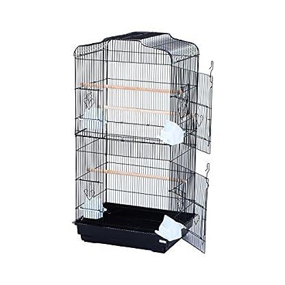 PawHut Large Metal Bird Cage for Parrot Parakeet Macaw Pet Supply Black 47.5L x 36W x 91H (cm) 3