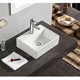 Lavabo de cerámica rectangular, tamaño pequeño, para colgar en pared o colocar sobre mueble, incluye sumidero