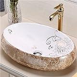 Lavabo sobre encimera de baño - Homelava Lavabo de cerámica blanca ovalado