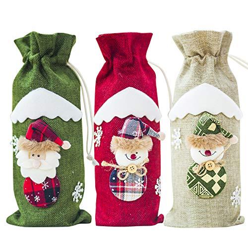 LAEMILIA 3Pcs Weihnachten Weinflasche Abdeckung Süß Stoff Festlich Motiv Weihnachtsdeko Tischdeko Weinbox Weinbag Weihnachtensgeschenke Weinflaschenabdeckung -