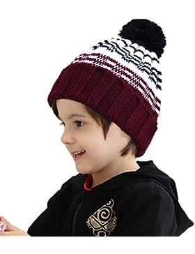 Vbiger Kinder Wintermütze Kinder Strickmütze Warm Winter Mütze für Jungen und Mädchen