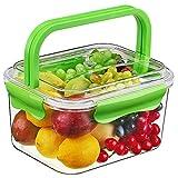 SELEWARE Frischhaltedosen, Aufbewahrungsbox, Vorratsdosen mit Griffen, 100% BPA-Frei, luftdicht, auslaufsicher für Lebensmittel, Obst, Getränke, Küchenheftklammern und Mehr (6L, Grün)