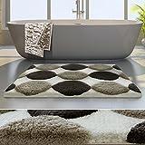 Tappeto da bagno moderno casa pura® linea Luxury Minerva | Bianco/Beige | Spessore extra alto | 60x100 cm