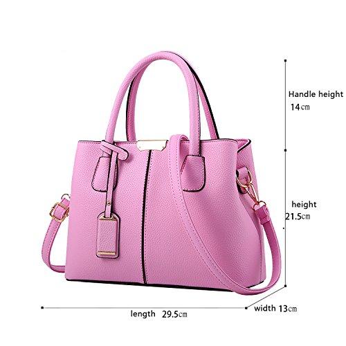 Sunas Le donne casuali della borsa di modo di Crossbody spalla del messaggero della borsa della cartella del Tote della Shopping Bag Con manico lungo PU Ecopelle per le signore Nero rosa