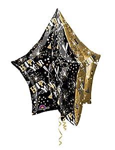 Burton & Burton Anagram Ultrashape - Globo de Papel de Aluminio con Estrella de Color Dorado y Negro