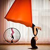 ULLK professionnel d'antenne Yoga Hamac Sécurité testé et certifié–Beaucoup de Couleurs, Orange, 7 meters