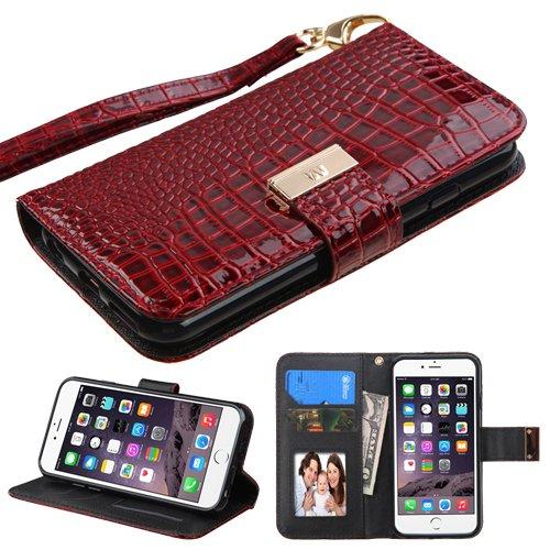 Fall + Tempered Glas/_ PU Leder Geldbörse Kupplung Passend für Apple iPhone 6/6S (Auch für iPhone 7/8) MYBAT Burgund Crocodile-Embossed MyJacket Wallet -