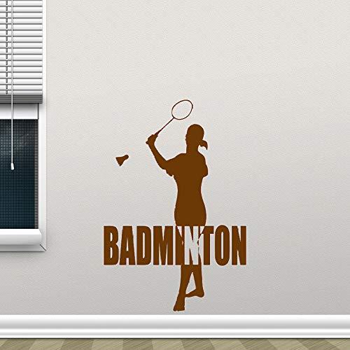 hanmuchen Sport Mädchen Silhouette Vinyl Wall Decor Aufkleber Badminton Decals Schlafzimmer Dekoration Gym Schule Wandtattoo Sport42x58cm