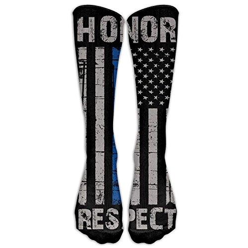 Preisvergleich Produktbild Style Unisex Socks Casual Knee High Stockings Thin Blue Line American Flag Honor Respect Police Cotton Socks One Size