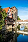 Acrylglasbild 100 x 150 cm: Old timbered houses and hanging tower, Nuremberg, Middle Franconia, Bavaria, Germany, Europe von Michael Runkel / Robert Harding - Wandbild, Acryl Glasbild, Druck auf Ac...