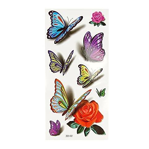 Dream Garden 10PCS Women Men Butterfly Flower Waterproof Temporary Tattoo Paste Stickers 3D (3)