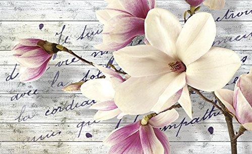 welt-der-träume   Foto-Tapete Wall Mural 130gsm Magnolie non-woven   Wood Planks   ve-aw 20033Natur-Braun Blume Orchidee Blumen, Gelb, White,grey,pink, VEXL (208cm. x 146cm.) (Welt Der Wall Mural)
