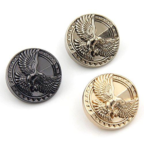 15/18/20/23/25mm Kleidung Zubehör Eagle geprägtem Vintage british style Symbole Metall-Schwarz Pullover Tasten, 10Stück, Tea gold, 25 mm Eagle Snap
