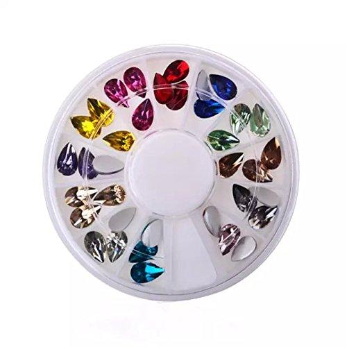 Goliton® 2pcs 12 couleurs acryliques strass Décorations Nail Art à ongle plateau accessoires de DIY nail art