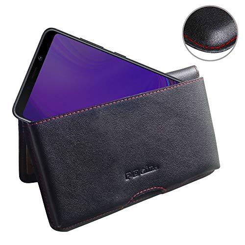 PDair Galaxy A9 Leder Brieftasche Folio Handy Hülle (Rot Stich), Brieftasche Echtleder Klapphülle Flip Hülle Etui, Luxus Prämie Brieftasche Tasche für Samsung Galaxy A9 (2018) - Brieftasche Handy Speck