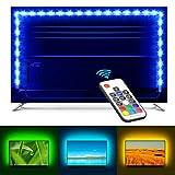 Minger LED TV Hintergrundbeleuchtung 2M/6,56 ft für 40-60 Zoll TV, 5050 RGB TV Bias Beleuchtungsset mit Fernbedienung für HDTV Desktop PC,USB-Anschluss