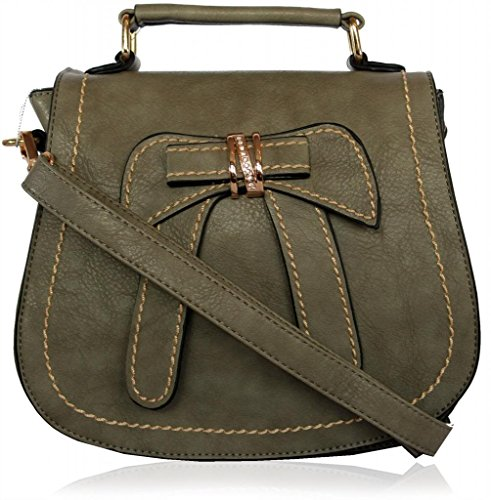 Kukubird Bow/Ribbon Pattern Faux Leather Designer Boutique Totes Handbag DARK GREY