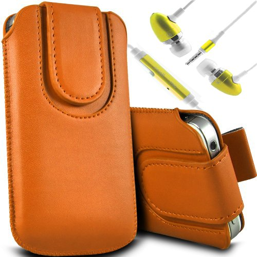 Brun/Brown - ZTE Blade Qlux 4G Housse et étui de protection en cuir PU de qualité supérieure à cordon avec fermeture par bouton magnétique et stylet tactile pour par Gadget Giant® Orange & Ear Phone